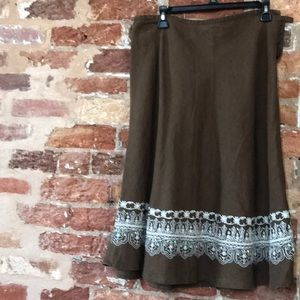 Brown linen A line skirt